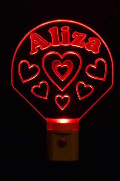 Personalized Hearts Night Light, Can Customize with name-FREE Shipping to US-