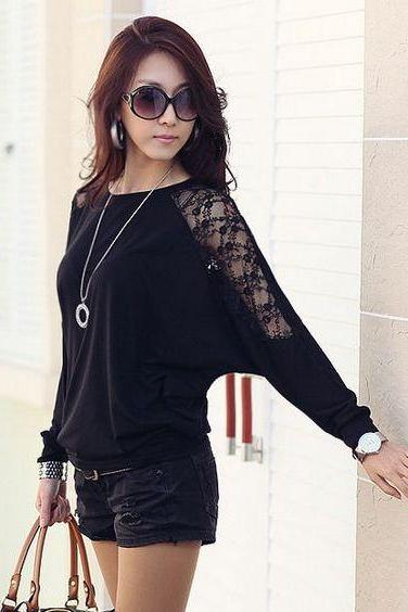 Black Bat Wing Lace Top