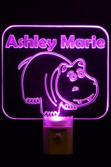 Personalize Hippo LED Night Light