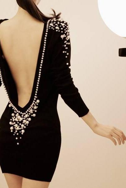 Backless Pearl Studded Dress