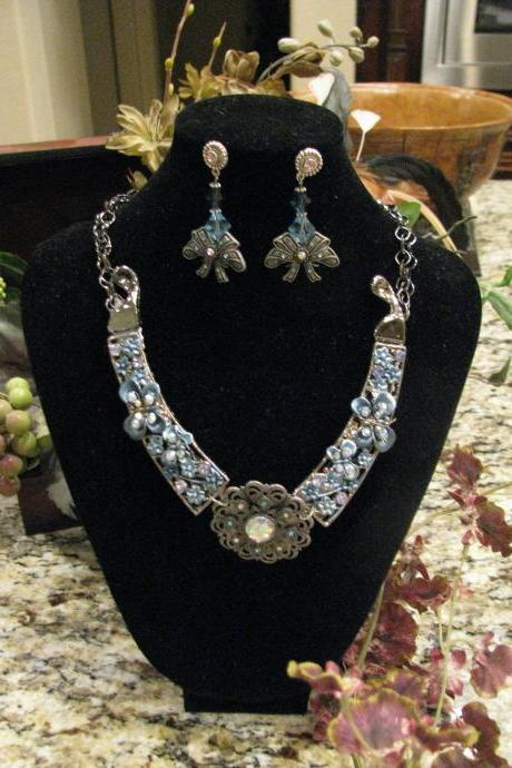 10 OFF Enchanted Necklace of Unique Design Light Blue Gunmetal Findings FREE Shipping