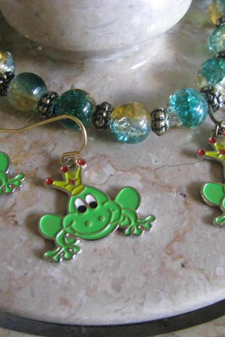 10 OFF 2Set Gorgeous KIDS Frog Prince Jewelries Elastic Charm Bracelet and Matching Earrings FREE Shipping
