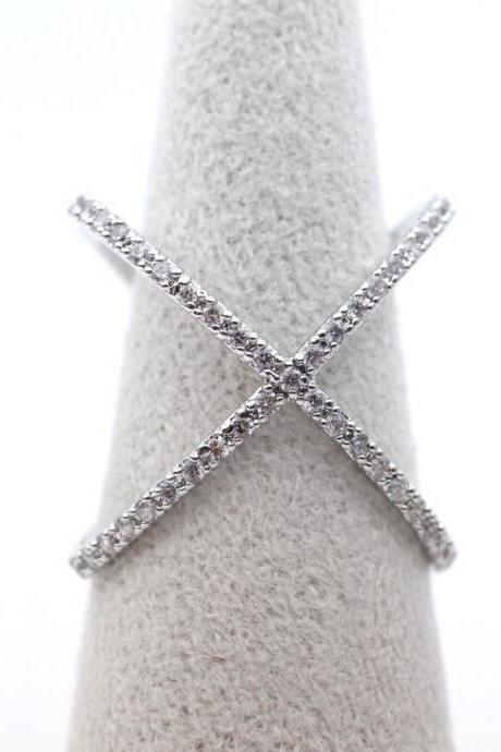Wide X Band Infinity Ring detailed with CZ in Silver