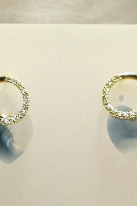 Circle of Love Swarovski Crystal and Gold CZ Earrings