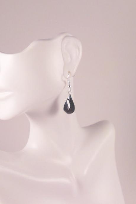 Black Helix Genuine Swarovski Crystal earrings
