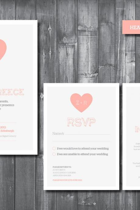 Wedding Invitation Suite - Digital Printable File - Heart Wedding Range - DIY Wedding
