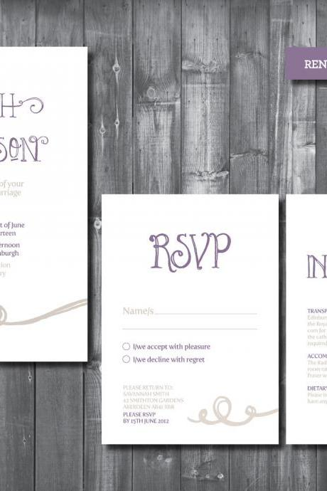 Wedding Invitation Suite - Digital Printable File - Renee Wedding Range - DIY Wedding