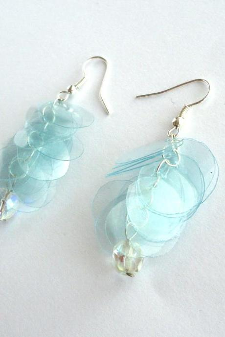 Lovely mint green earrings made of recycled plastic bottle & repurposed glass bead - upcycled jewelry, eco-friendly, blue