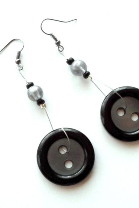 Black long earrings handmade of large repurposed buttons, upcycled jewelry, eco-friendly, simple, modern, recycled, handcrafted, OOAK
