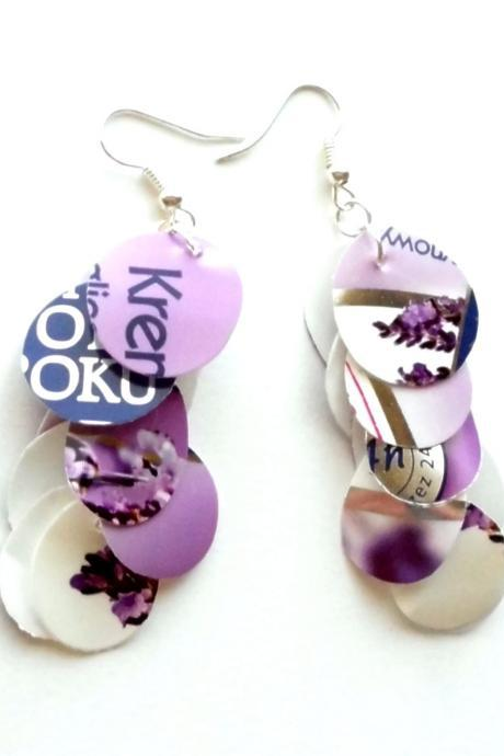 Lilac dangle long earrings made of recycled plastic eco-friendly upcycled jewelry lavender purple violet