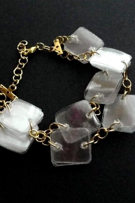 Upcycled jewelry eco-friendly bracelet made of recycled plastic bottles, white & gold, geometric, modern