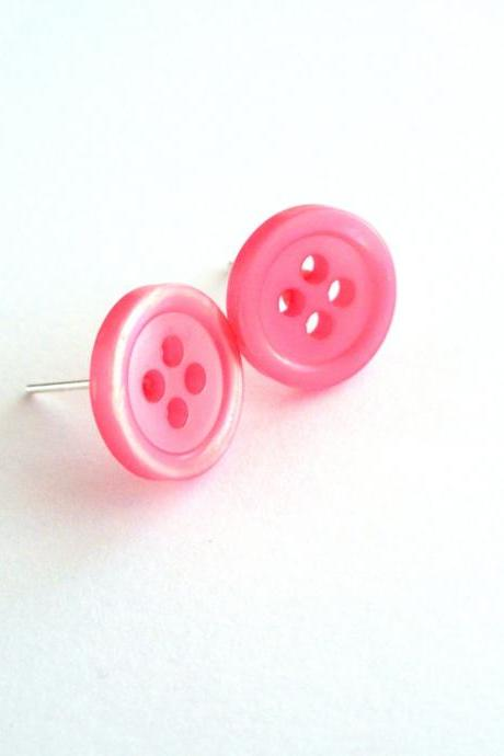 Neon pink post earrings handmade of vintage buttons - funny, eyecatching, ecofriendly - upcycled jewelry, buttons earrings