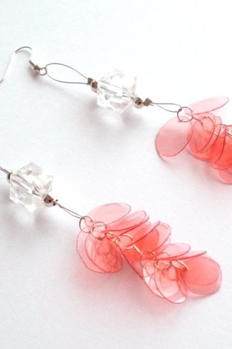 Red long earrings handmade of recycled plastic bottle and repurposed clear beads - upcycled jewelry, handcrafted, OOAK, ecofriendly