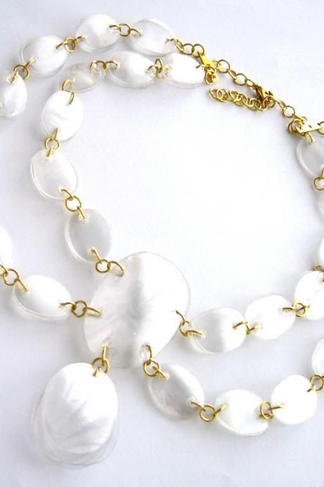 SALE White & gold statement necklace handmade of recycled plastic bottles - upcycled, handcrafted jewelry, chunky necklace