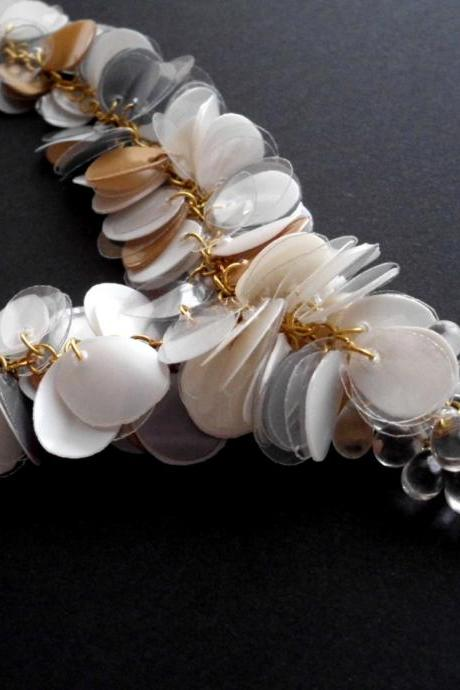 Statement necklace made of recycled plastic bottles - upcycled jewelry, eco-friendly, golden & white