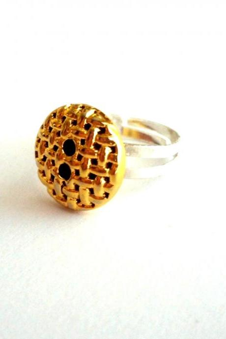 Adjustable ring handmade of golden vintage button, OOAK, recycled, upcycled, repurposed, boho, ecofriendly