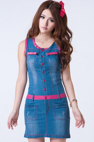 Spring And Summer 2013 Women Color-block Denim Vest Dress Slim Fit PU Binding Mini Dress S-L
