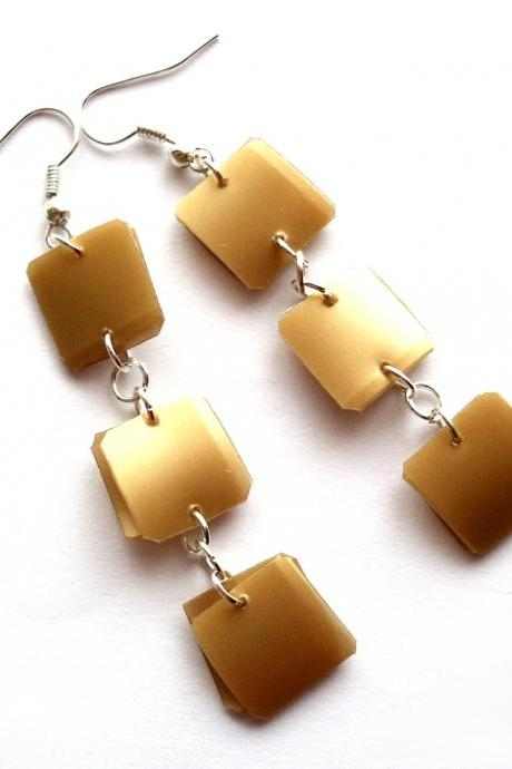 Golden long earrings made of recycled plastic squares - upcycled jewelry, modern, geometric, ecofriendly, brown, boho