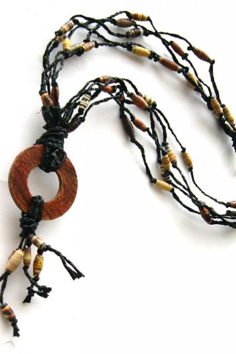 Brown & black statement necklace made of paper beads and recycled plastic bags, eco-friendly, upcycled jewelry, boho, rustic, natural