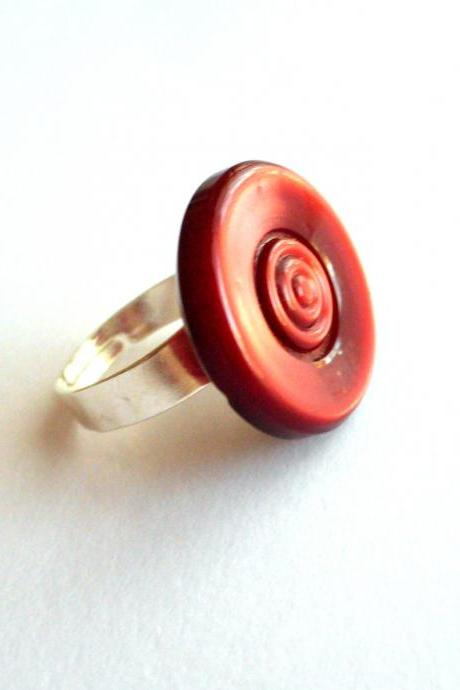 Adjustable ring made of big red vintage buttons - eco-friendly, upcycled jewelry, repurposed, sustainable, ooak