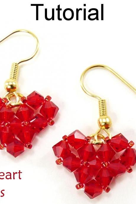 Beading Tutorial Pattern Earrings - Valentines Jewelry - Simple Bead Patterns - Crystal Heart Earrings #4593