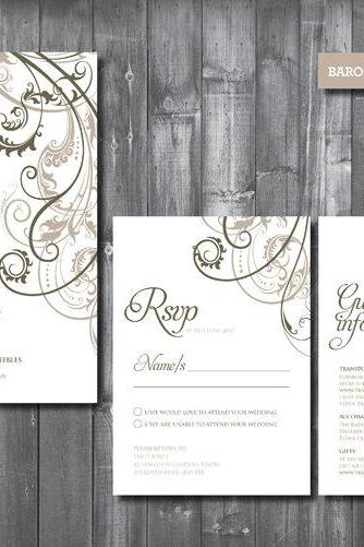 Wedding Invitation Suite - Digital Printable File - Baroque Wedding Range