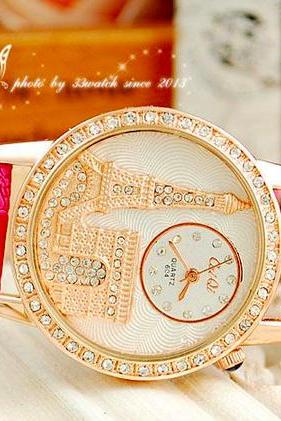 Luxury Crystal Diamond Eiffel Tower Lady Girl Quartz Wrist Dress Watch With Leather Strap Valentine's Day Gift