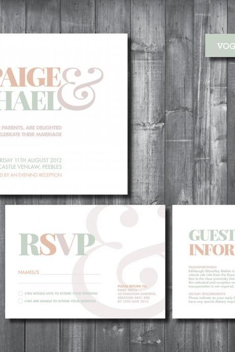 Wedding Invitation Suite - Digital Printable File - Vogue Wedding Range - DIY Wedding