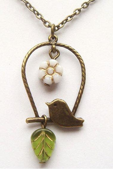 Antiqued Brass Bird Green Czech Glass Flower Leaf Necklace