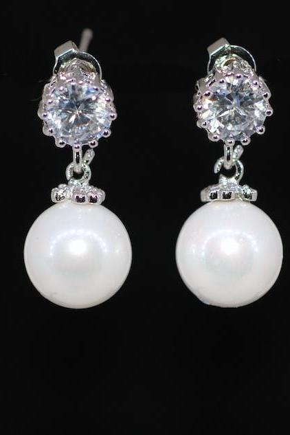 Wedding Earrings, Bridesmaid Earrings, Bridal Jewelry - Round Cubic Zirconia Earring with White Pearl (E627)
