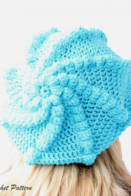 Crochet Slouchy Hat Pattern, Crochet Oversized French Bubble Beret Pattern , Crochet Slouchy Beanie Pattern