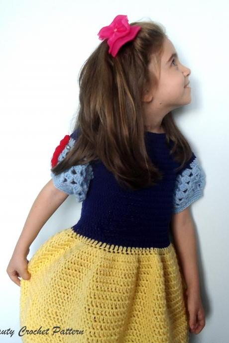 Princess Snow White Crochet Dress Pattern,Snow White Baby Photo Prop,Princess Crochet Dress Pattern