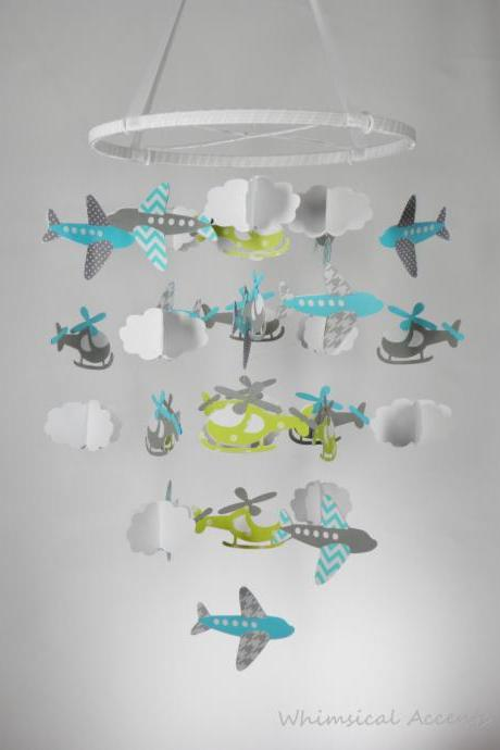 Airplane, Helicopter and Cloud Baby Paper Nursery Mobile in Blue, Green and Gray
