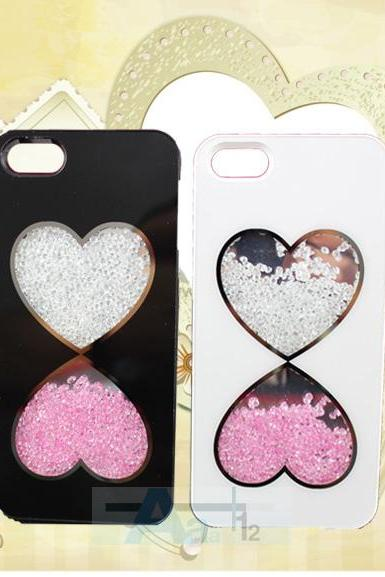 Cute Fashion Bling Love Heart Diamond Crystal Case Cover for iPhone 5 5S Film #A25