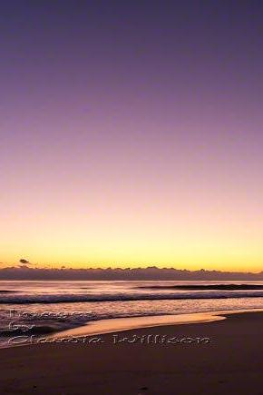 Sunrise Photo ocean beach home decor orange purple print 8x12""