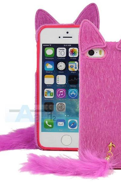 New Rose Red Luxury Plush Cute Artificial Fur Mink Cat Soft Case Cover for Apple iPhone 5 5S 5C Case+Pen A157_RO