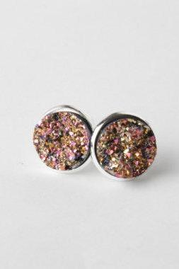 Gold Druzy stud earrings - gold druzy earrings - faux druzy earrings - sparkly earrings - druzy post earrings - gold druzy studs - Canada
