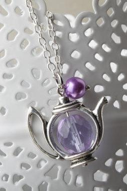 Teapot Necklace - purple glass and pearl - purple teapot necklace - Antique silver - Alice in Wonderland jewelry tea time necklace - tea