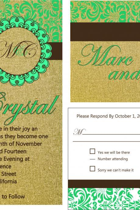 50 sets Personalized Wedding Invitation With love birds//matching RSVP postcard//fully customized to your wedding