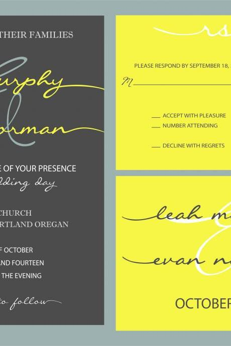 100 Budget Wedding Invitations and matching RSVP //Scripts in yellow and grey//can be customized//vintage, pretty