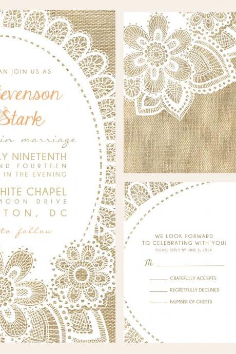 50 wedding invitations, custom wedding invitations, personalized wedding invites, BURLAP WEDDING invitations lace wedding invitations