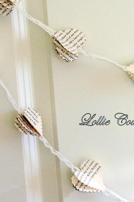 Lace with scalloped Paper heart garland, Party decor, Nursery decor, romantic, rustic Wedding decorations
