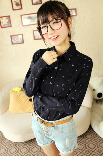 Fashion Anchor Print Turn-down Collar shirt Women Loose Chiffon Shirt Long Sleeve Top 2colors[CW010026]
