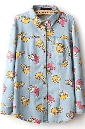 Cartoon Button-up Denim Shirt