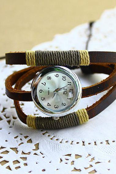 hot sale Russia 3 ring Handmade rope antique Cow Leather watches vintage ladies