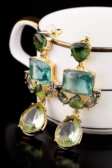 Stud Earring Charm Green Crystal Exquisite