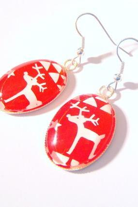 Two Santa's Reindeers Deers with Stars Red Christmas Earrings