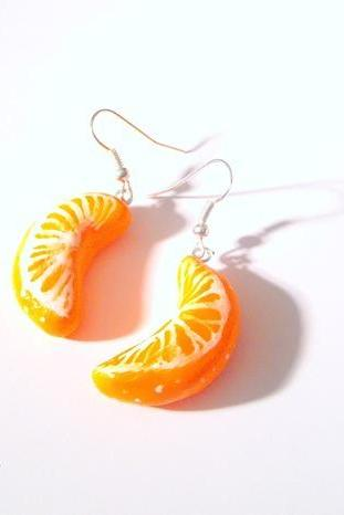 Handmade Vitamine C mandarine Orange Earrings