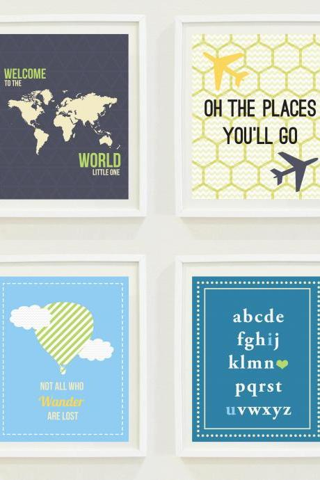 Nursery Prints: Around The World - Travel Nursery - Alphabet - Hot Air Balloon-Compass-Not All Who Wander Are Lost - Home Decor-Gallery Wall- #11201