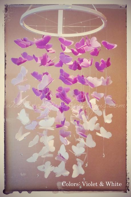 PICK 2 COLORS - OMBRE - Medium Vellum Butterfly Mobile